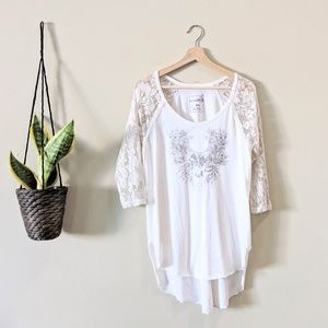 Free People Renegade Lace Raglan Sleeve  T-Shirt